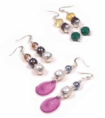 Pink Pitch Beaded Dangler Beads, Pearl Brass, Acrylic, Alloy, Glass, Metal Dangle Earring