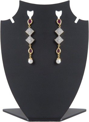 Aaina Home Decor Designer Cubic Zirconia Brass Drop Earring