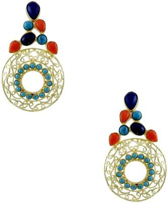 Orniza Golden Fashion Earrings in Multi-Colour Color and Golden Polish Brass Dangle Earring