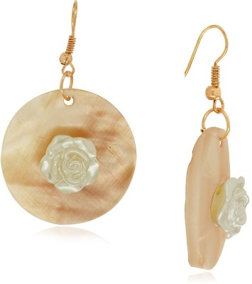 Spargz Fashionable Rose Design Round Sea Shell Alloy Dangle Earring