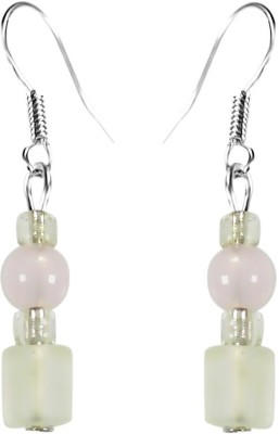 Crystals & Beads Rose Quartz Colour Round Crystal & Milky White & White Crystal Acrylic, Glass, Crystal Dangle Earring