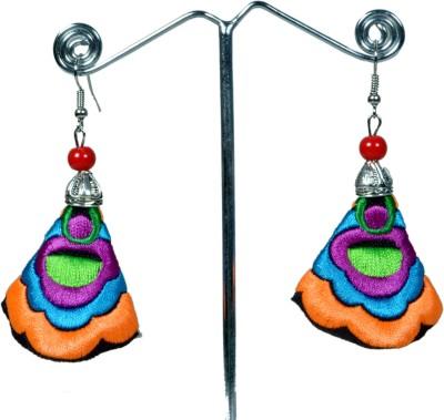 Angelfish Handmade colorful orange embroidery Fabric Dangle Earring