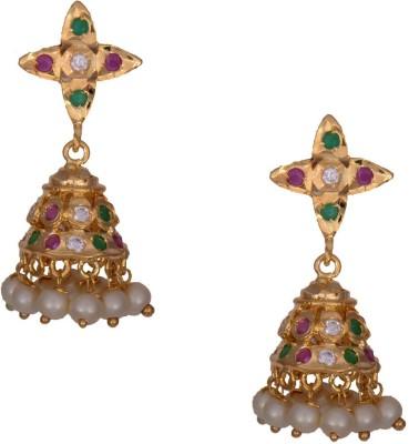 Mahaveer Pearls Rich Striking Brass Jhumki Earring