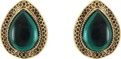 Donna Green Drop Crystal Metal Stud Earring