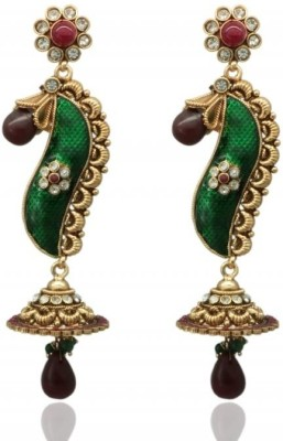 Siyora long traditional Cubic Zirconia Brass Drop Earring