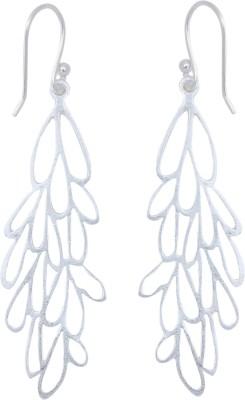 JHL Silver Leaf Shape Silver Dangle Earring