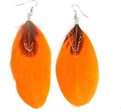 Ammvi Fire Orange & Brown Feather for Women Alloy Dangle Earring