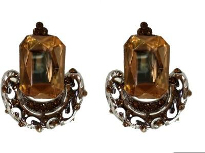 Modish Look Yellow Crystal Shine Brass Drop Earring