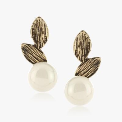 Shamoda Casual Leaf & Pearl Metal Stud Earring
