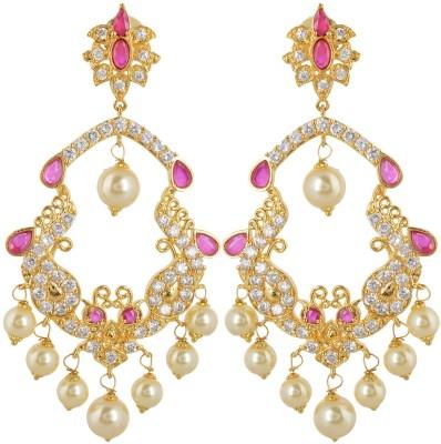 BHANSALI JEWELS American Diamond Earrings Brass Chandelier Earring