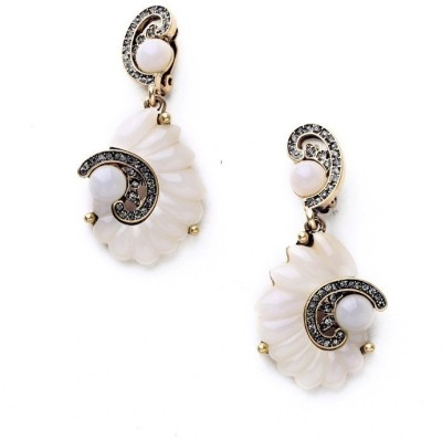 Oomph Gold & White Crystal Shell Fashion Jewellery for Women, Girls & Ladies Metal Drop Earring