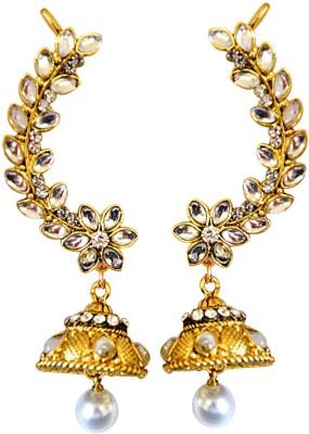 Surat Diamond Trail of White Pearl Metal Cuff Earring