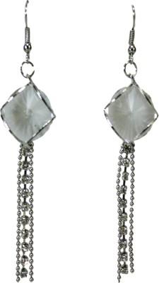 Bandish Silver-Toned Stone Multistranded Metal Dangle Earring