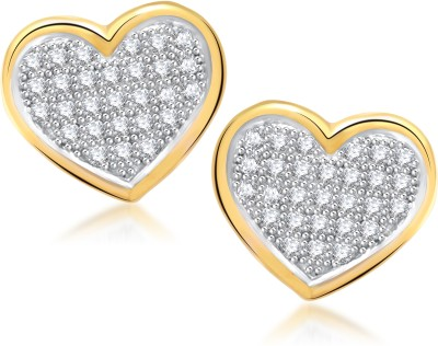 Meenaz Micro Pave Heart Cubic Zirconia Alloy Stud Earring