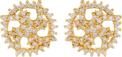 Dilan Jewels Gold Diamond Swastik Zircon Alloy Stud Earring