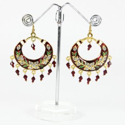 Artisan Red Round Enamel Chandbali Earring