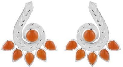 VelvetCase Carnelian Semiprecious Gemstone Earrings Carnelian Silver Hoop Earring
