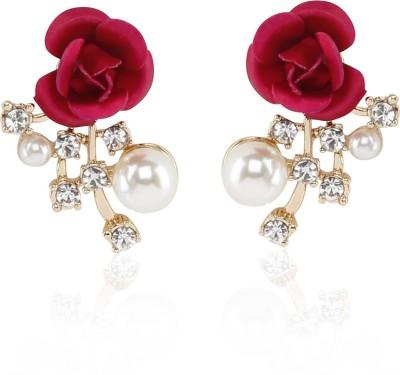 Kalaplanet Rose Flower Decorated Design Alloy Stud Earring