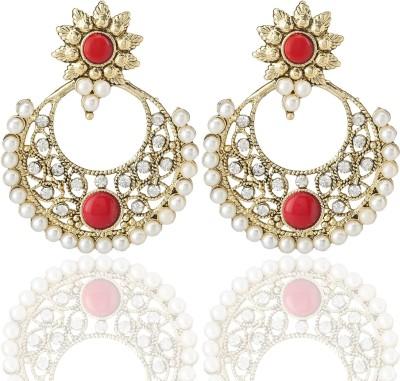 Castle Street Pretty Red Alloy Chandbali Earring
