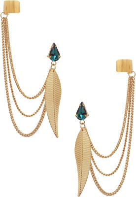 Sankisho Waah-2 Leaf Metal, Alloy, Glass Cuff Earring