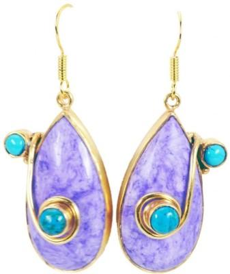 Riyo Fascinating Charolite Onyx Copper Dangle Earring