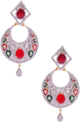 Rubena Gold Plated Danglers With Orange Color Stone Cubic Zirconia Alloy Chandbali Earring
