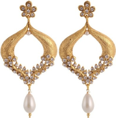 Sewad Elegant Light weight golden with pearl hanging Copper Drop Earring