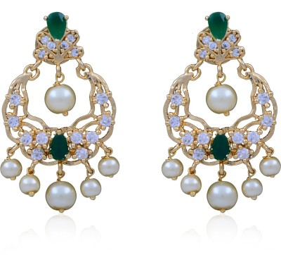 Jewel Planet Beautiful Pearl Alloy Chandbali Earring