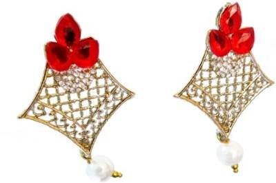 Ratnaraj India Gold Plated Red Diamond Stone Pearl Copper Drop Earring