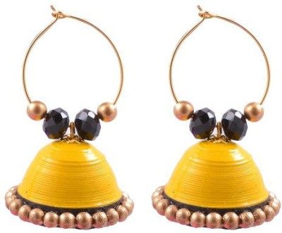 Jyotis Creations YELLOW AND BLACK Paper Hoop Earring