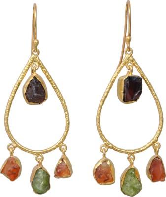 JEWELS ART Garnet, Peridot Metal Chandbali Earring