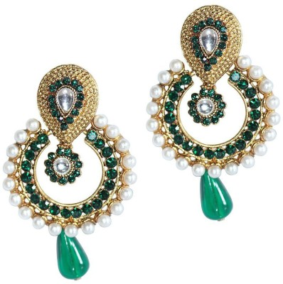 Grand Jewels Mahi10 Emerald Alloy, Brass Chandbali Earring