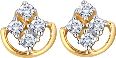 Glitz Design 0.10 Ctw Four In A Basket Yellow Gold 14kt Diamond Stud Earring