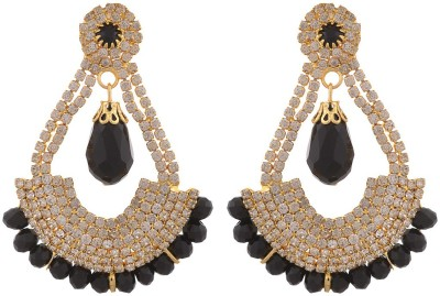 Blacksmith Hoopie Black Crystal Metal Drop Earring