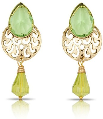 Luxor Peach Green Ethnic Wear Alloy Drop Earring