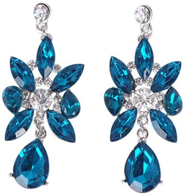 Jewel Touch Hiphop Spikey Flower Design Alloy, Resin, Crystal Drop Earring