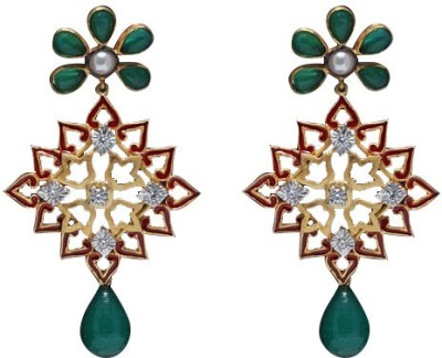 Treta Traditional Flower Shape With Crystal Cz Stone And Beautiful Silver Drop Earring