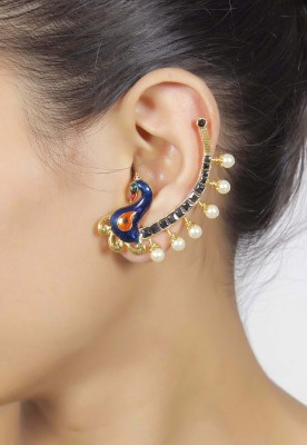 Muchmore Peacock Desing Pearl Alloy Cuff Earring