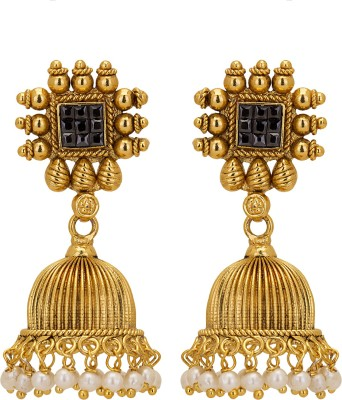 Adwitiya Collection Spring Sparkle Pearl Copper Jhumki Earring