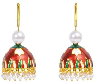 Jillcart Jhumka Earring with Red and Green Color Pearl Copper Jhumki Earring