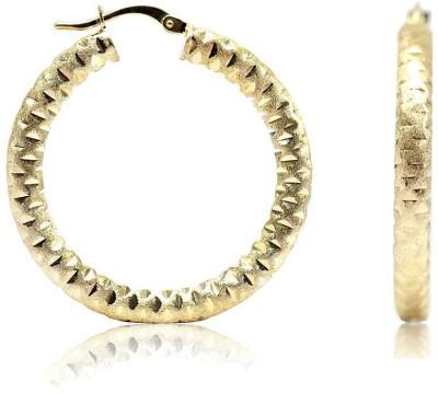 LeCalla Diamond Cut Classy Modern Sterling Silver Hoop Earring