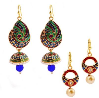MK Jewellers Designer Meenakari Jhumki earring Combo Brass, Copper Earring Set