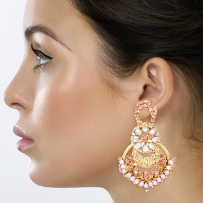 Kraft Central Shine and Sparkle Pearl Brass Drop Earring