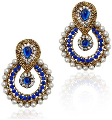 Grand Jewels Blue & Gold Alloy Chandelier Earring