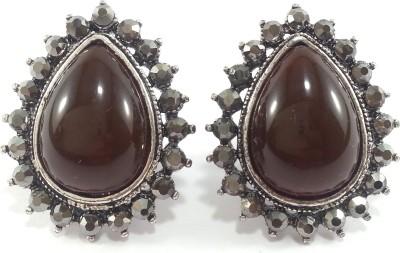 Jasveen Jewellery Brown Shell Shaped With Black Swarovski Oxidize Platedd Alloy Stud Earring