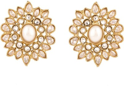 Rajwada Arts Floral Stylish Design With White Stones Brass Stud Earring
