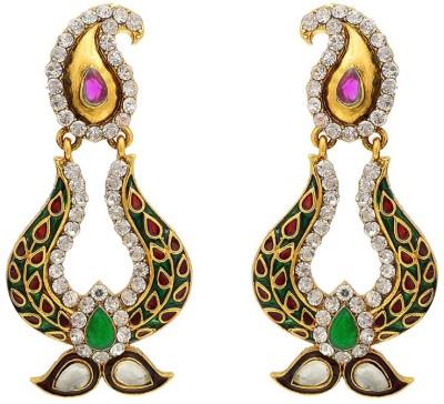 Aaishwarya Traditional Meenakari Paisley Design Colourful Crystal Brass Chandbali Earring