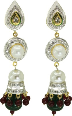Prisha Beautiful Black And White Pearl Fashion Earrings Pearl Copper Jhumki Earring