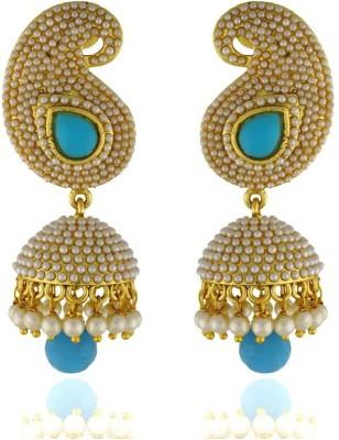 Pearls Cart Antique Golden Royal Meena Work Alloy Jhumki Earring