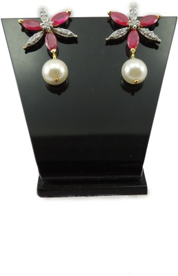 Bharat Sales Party wear In Floral Collection In Red Color Cubic Zirconia Copper Drop Earring